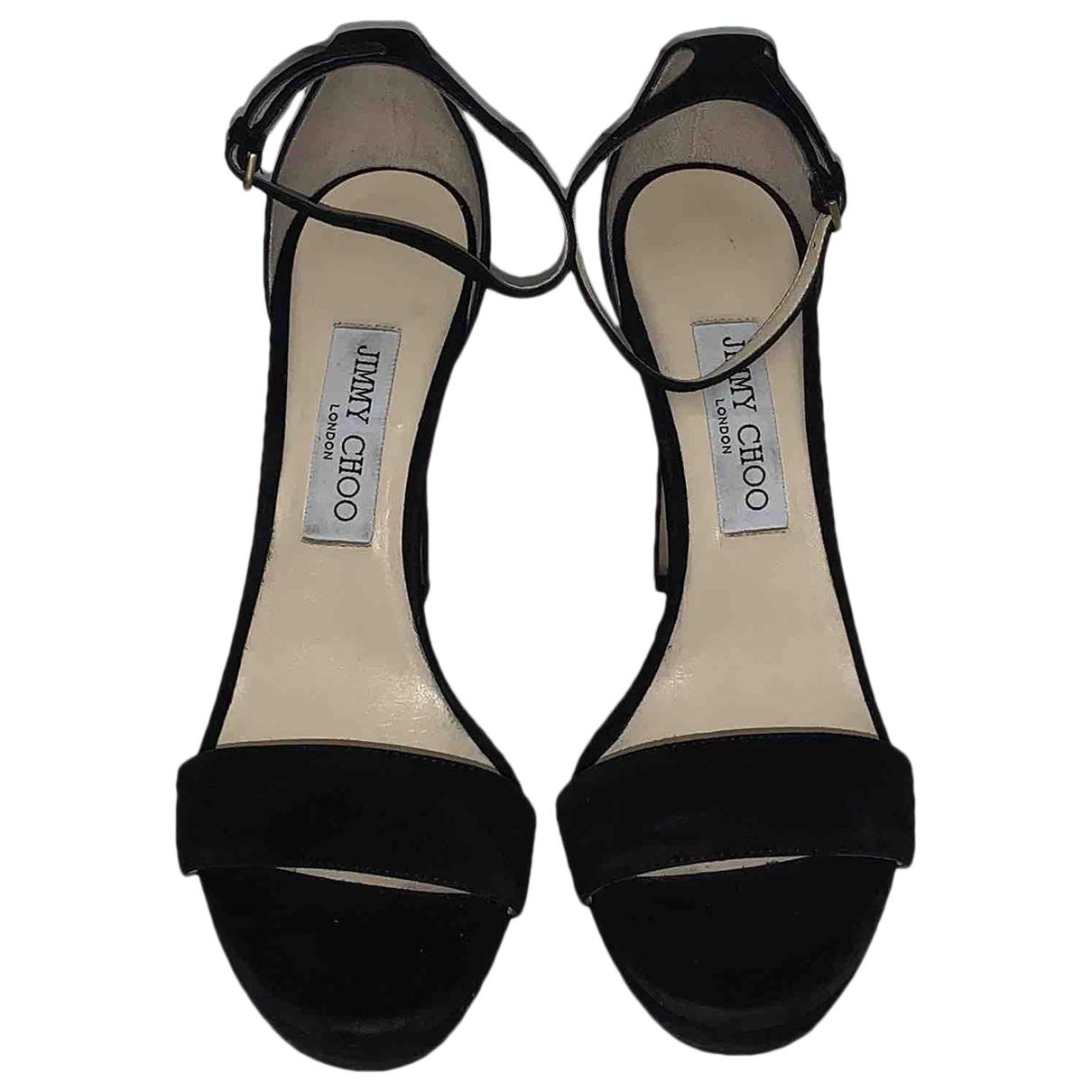 Jimmy Choo - Sandales   pour femme en suede - noir