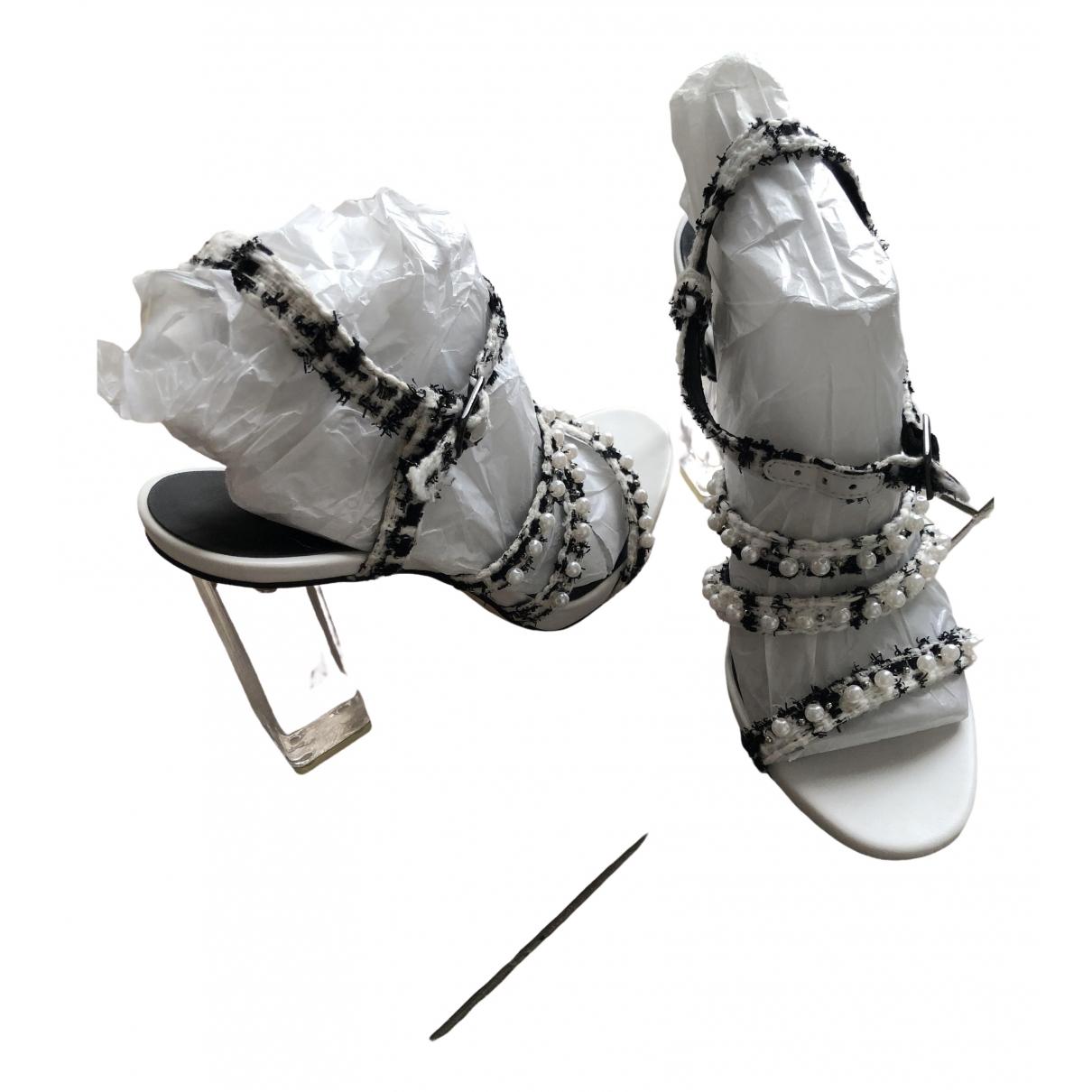 Karl Lagerfeld - Sandales   pour femme en tweed - blanc