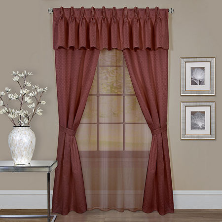 Claire Light-Filtering Rod-Pocket Curtain Panel, One Size , Red