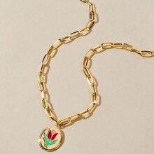 Flower Decor Charm Chain Necklace