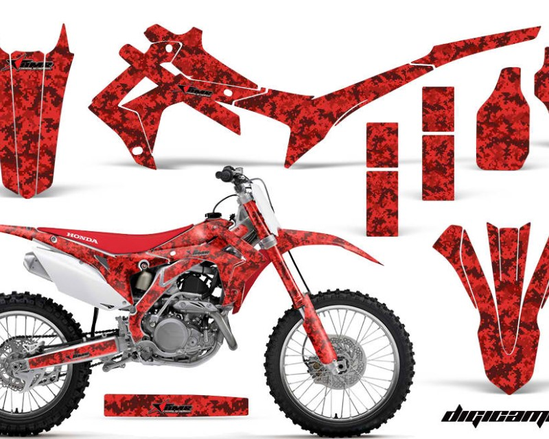 AMR Racing Dirt Bike Graphics Kit Decal Sticker Wrap For Honda CRF250R 2014-2017áDIGICAMO RED
