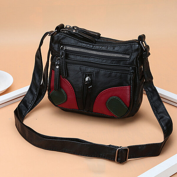 Women PU Soft Leather Multi-slot Crossbody Bag Patchwork Shoulder Bag