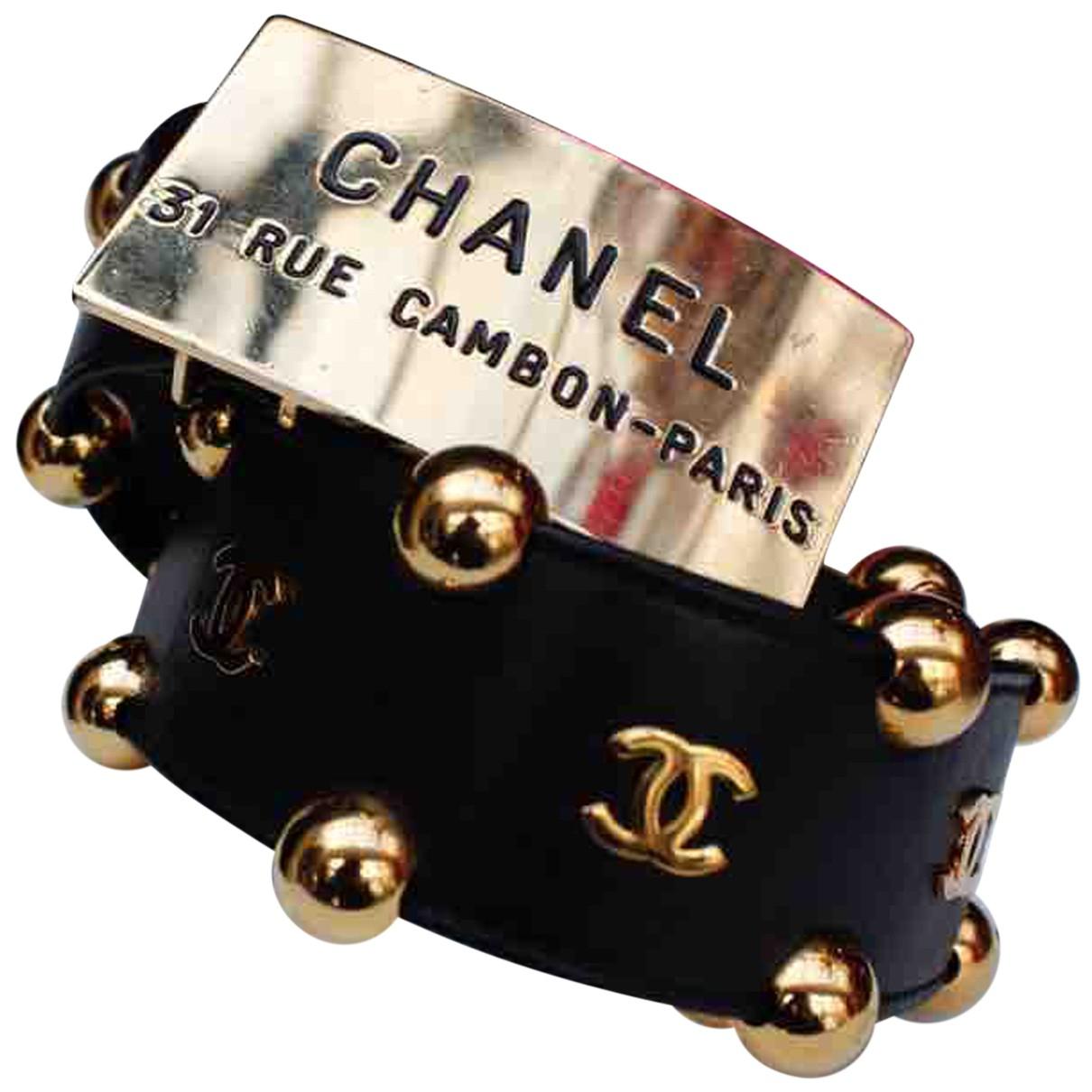 Chanel N Black Leather belt for Women 85 cm