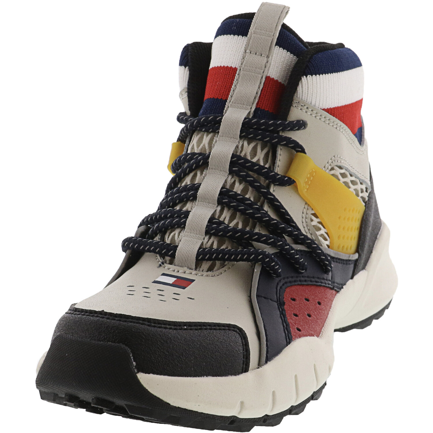 Tommy Hilfiger Trail Mid Light Taupe / Navy Red Ankle-High Leather Hiking Shoe - 5M