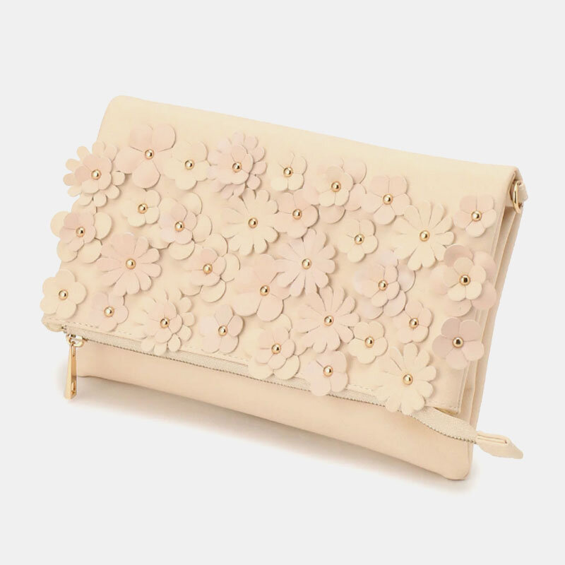 Women Sweet Multi-pocket Floral Faux Leather Crossbody Bag Clutch Bag