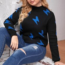 Plus Lightning Pattern Mock Neck Sweater