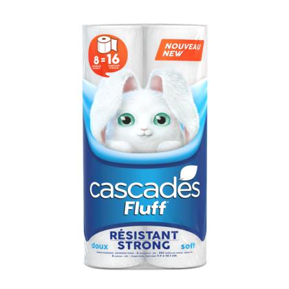 Papier hygiénique Cascades Fluff Strong, 2 épaisseurs, 8 rouleaux, 1 emballage