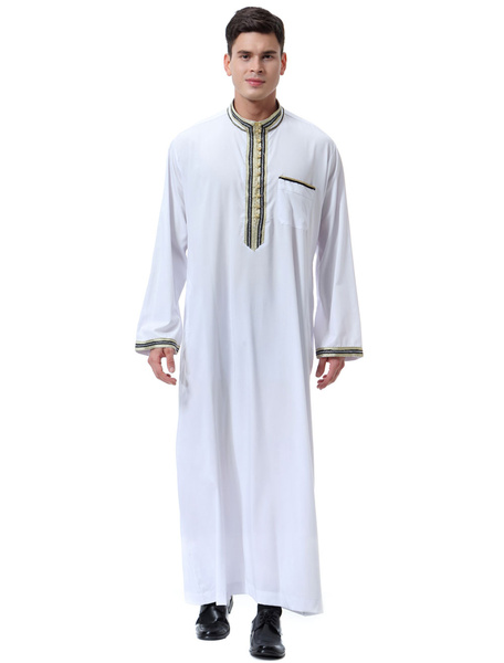 Milanoo Arabian Men Robe Stand Collar Applique Frill Long Sleeve Ecru White Arabian Abaya