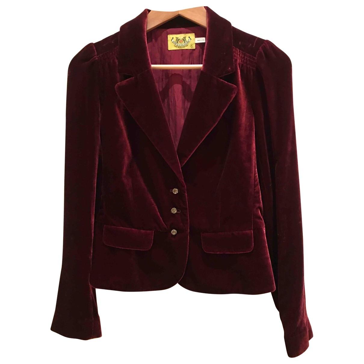 Juicy Couture - Veste   pour femme en velours - rouge