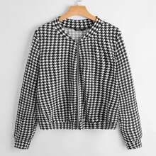 Plus O-ring Zip Houndstooth Tweed Jacket