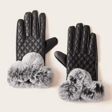 1pair Fluffy Pom Pom Decor Stitched Gloves