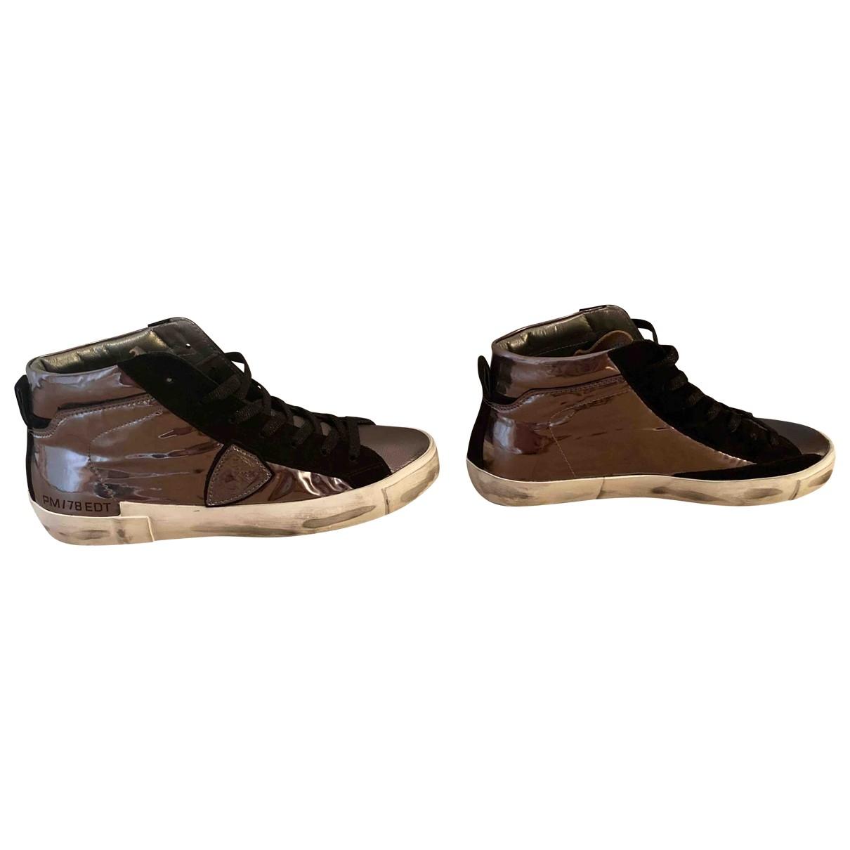 Philippe Model - Baskets   pour femme en cuir - gris