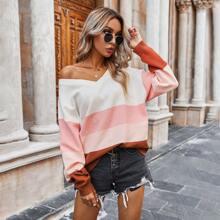 Colorblock Asymmetrical Neck Sweater