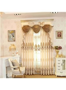 Beige Bright Color Embroidered Floral 2 Panels Custom Grommet Curtains For Living Room
