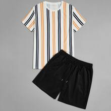 Men Vertical Striped Tee & Track Shorts