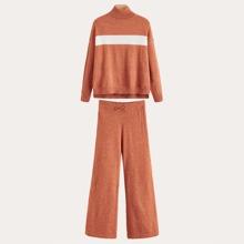 Conjunto jersey de color combinado de hombros caidos con pantalones tejidos