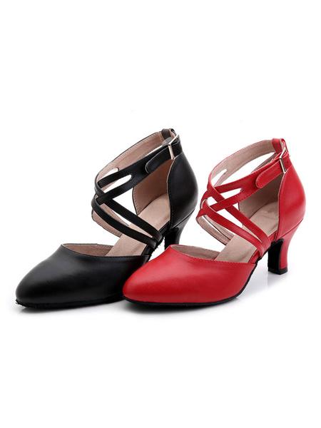 Milanoo Zapatos rojos de la danza Zapatos de salon de las mujeres Zapatos de baile latino detallados de la hebilla de Criss Cross del dedo del pie