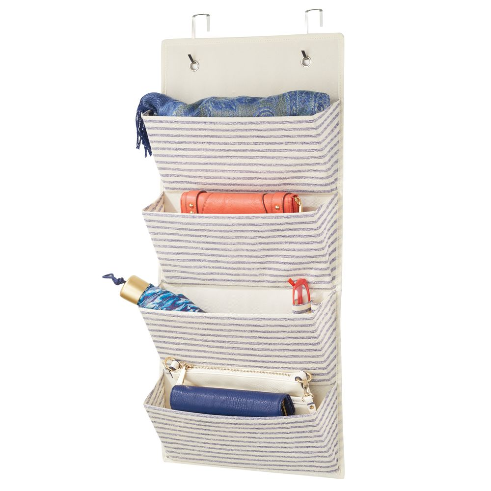 4 Pocket Fabric Over Door Hanging Closet Storage Organizer in Natural/Cobalt Blue, 3