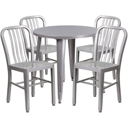 CH51090TH Collection CH-51090TH-4-18VRT-SIL-GG 5 Piece Indoor-Outdoor Table Set with 30