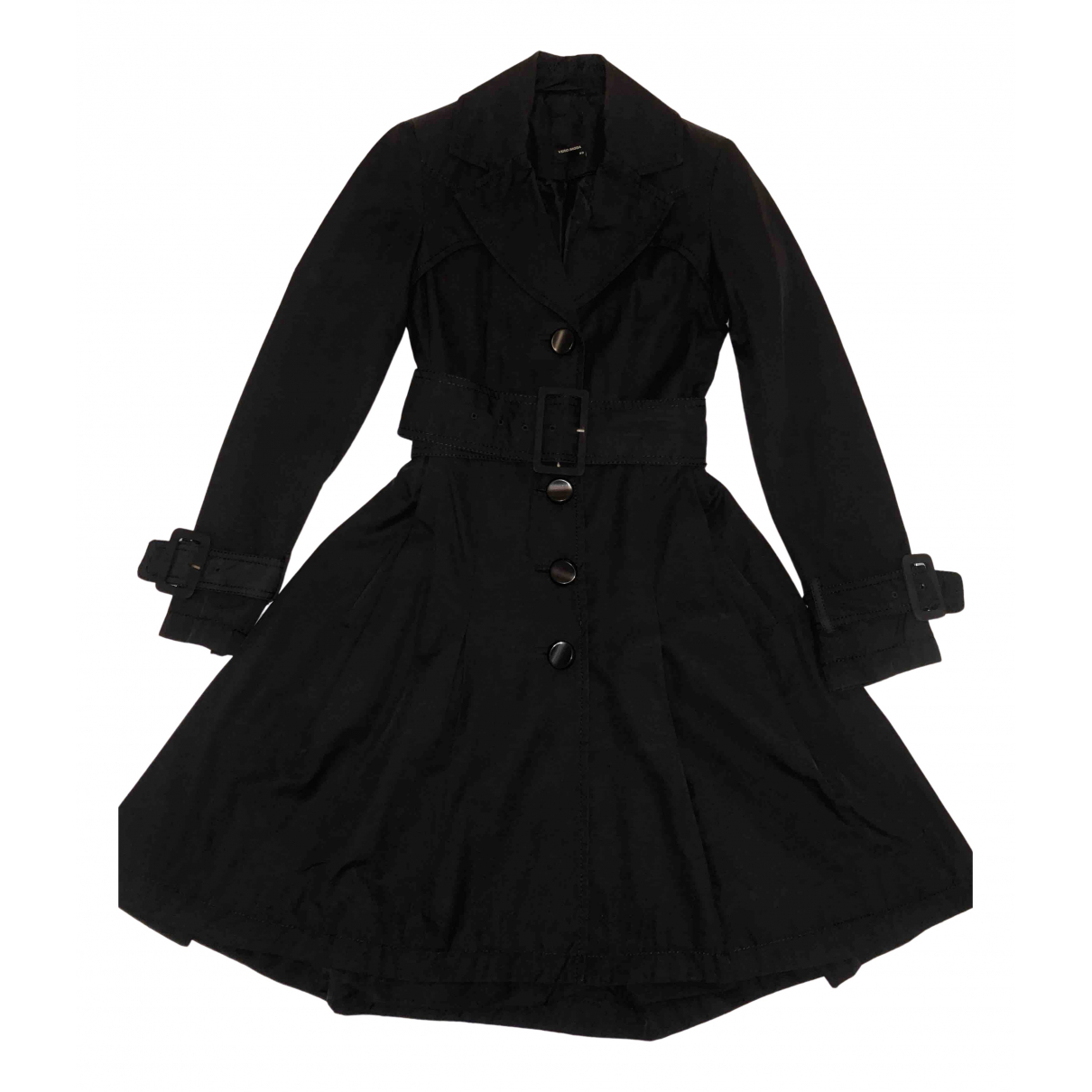 Non Signe / Unsigned Epaulettes Trench in  Schwarz Polyester