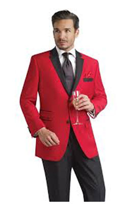 Red Tuxedo Jacket with Black Notch Lapel & Black Trousers