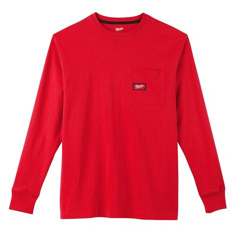 Milwaukee Heavy Duty Pocket T-Shirt - Long Sleeve - Red S