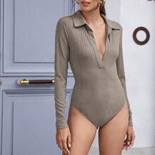 V-neck Rib-knit Solid Bodysuit