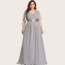 Plus Flutter Sleeve Pleated Chiffon Dress