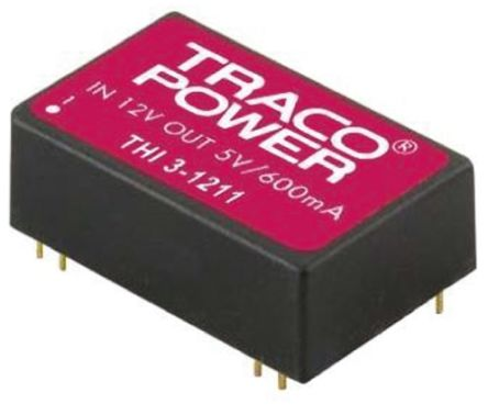 TRACOPOWER THI 3 3W Isolated DC-DC Converter Through Hole, Voltage in 4.5 → 5.5 V dc, Voltage out 12V dc Medical