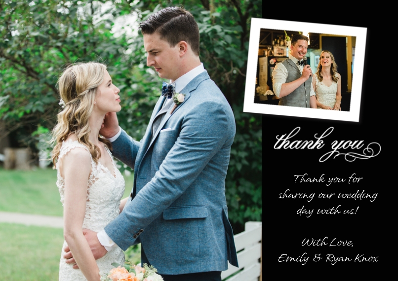 Thank You Cards 5x7 Cards, Premium Cardstock 120lb with Elegant Corners, Card & Stationery -Thank You Tilted Photo Top