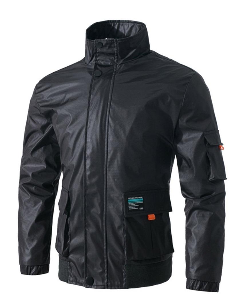 Ericdress Plain Stand Collar Pocket Mens Spring Casual Jacket