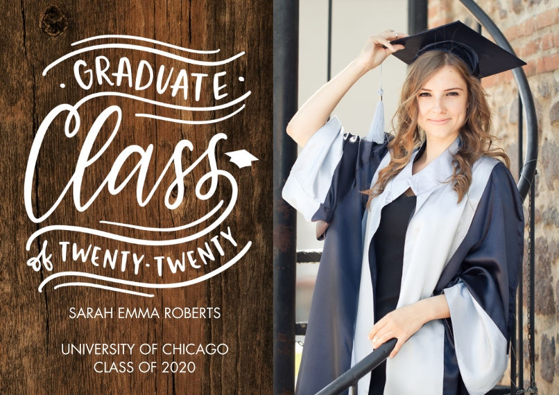 2020 Graduation Announcements Flat Glossy Photo Paper Cards with Envelopes, 5x7, Card & Stationery -Graduate 2020 Class by Tumbalina