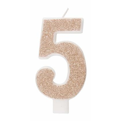 Rose Gold Glitz Glitter Numeral Birthday Candle - 5
