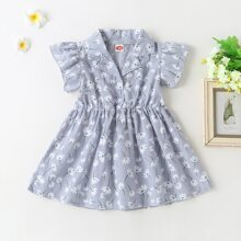 Baby Girl Lapel Floral Print A-line Dress