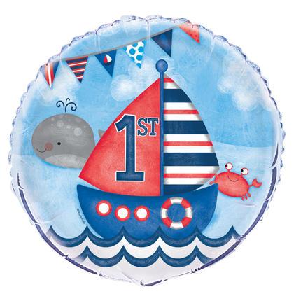 Little Sailor Nautical First Birthday Round Foil Balloon 18