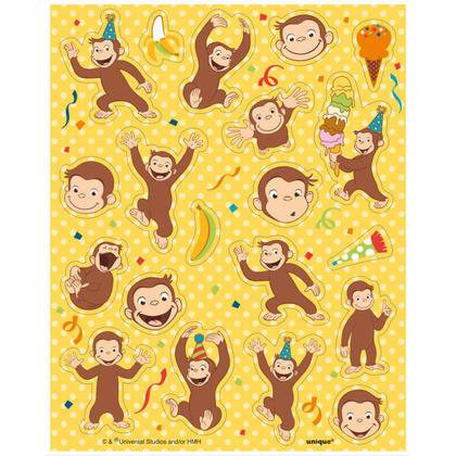 Curious George 4 Sticker Sheets/Favors Pour la fête d'anniversaire
