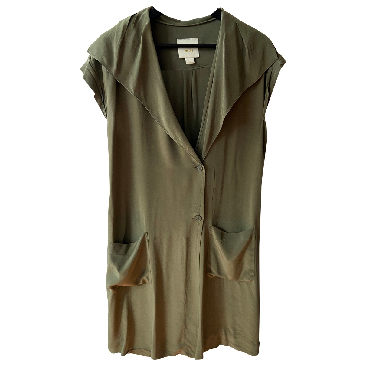 Non Signe / Unsigned \N Kleid in  Khaki Seide