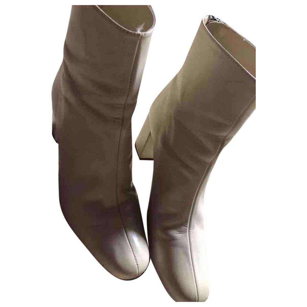 Zara \N Stiefel in  Ecru Leder