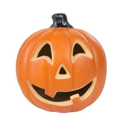 Decoration d'Halloween 10 '' Potiron lumineux à piles avec ampoule rouge- G.Ghouls