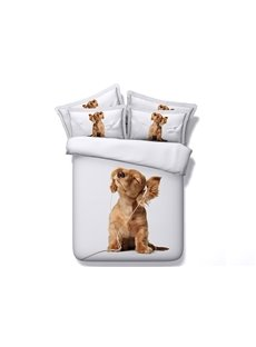 3D Puppy Listening to Music Printed 5-Piece Comforter Sets