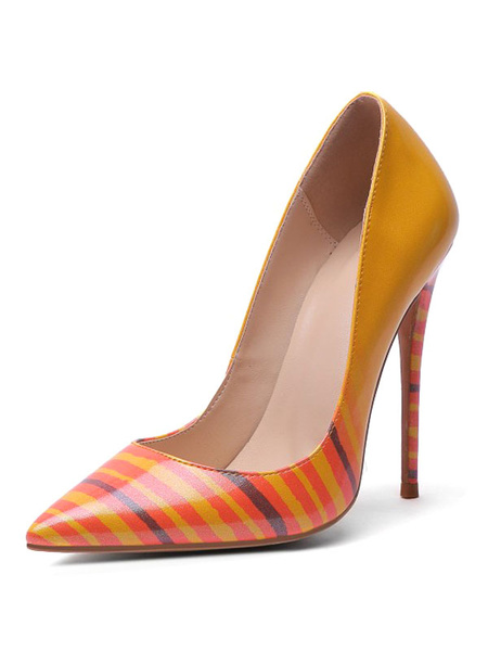 Milanoo Women High Heels Pointed Toe Stiletto Heel Oragnge Red Stripes High Heel Shoes