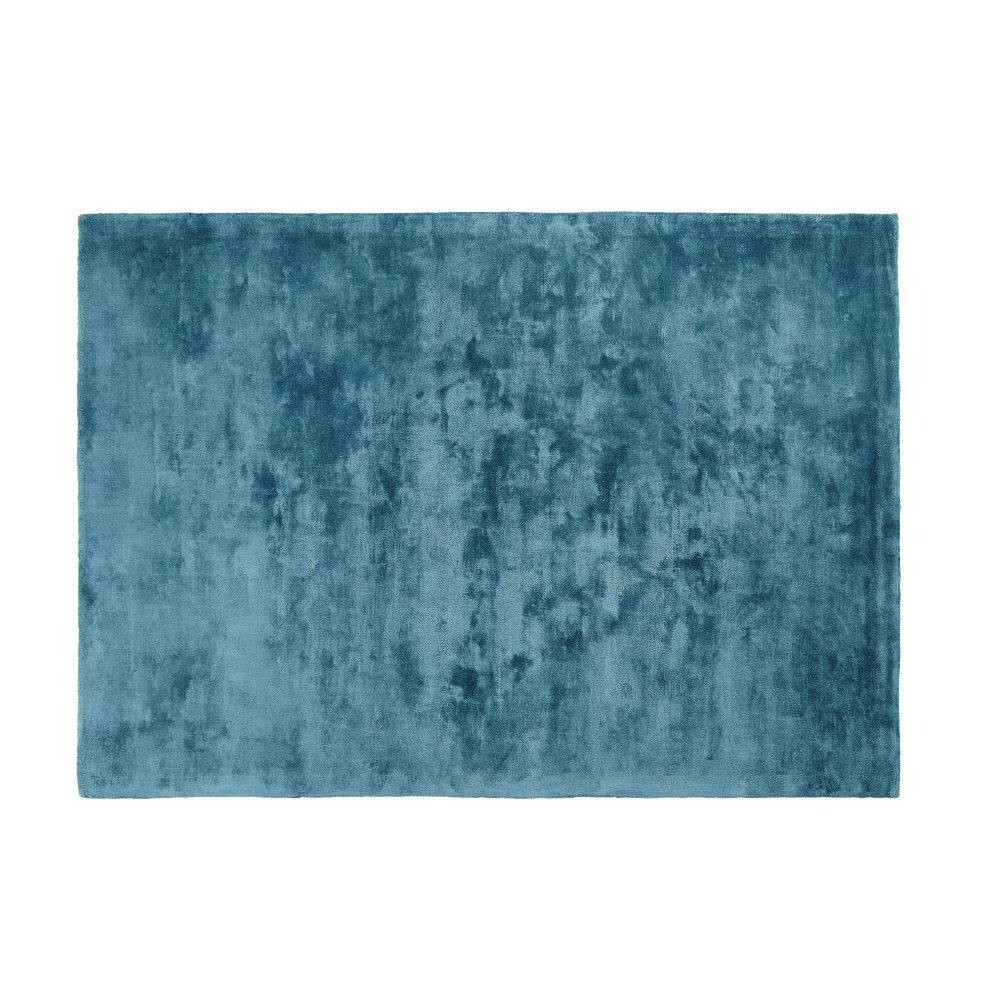 Blaugruener getufteter Teppich 140x200