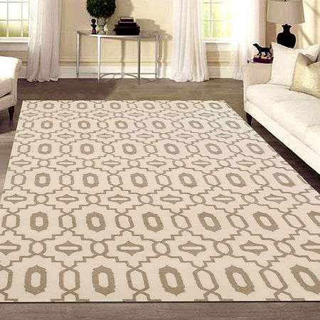 Basilica Merril Contemporary Geometric Area Rug, One Size , White