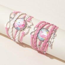 Pulsera de niñitas a capas con diseño redondo con unicornio 2 piezas