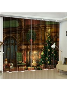 3D Grand Old House and Christmas Tree Printed Custom Living Room Curtain
