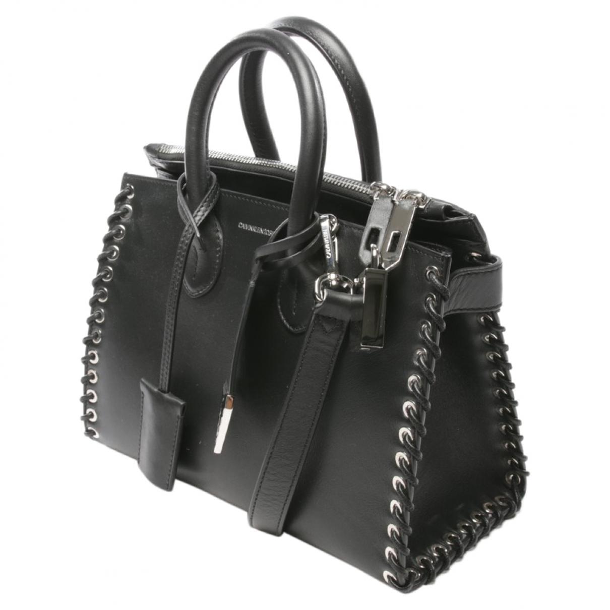 Calvin Klein \N Handtasche in  Schwarz Leder