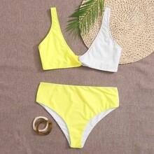 Grosse Grossen - Zweifarbiger Bikini Badeanzug mit Twist