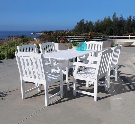 V1337SET7 Bradley Outdoor Wood Rectangular Dining Table and 6 V1339 Bradley Series Outdoor Wood