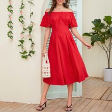 A-Linie Kleid mit Raffung und Flatteraermeln
