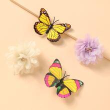 4 piezas horquilla de niñitas con diseño de flor y mariposa